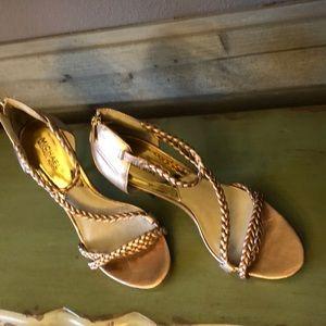 Michael Kors- Rose Gold braided strap heels